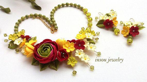 Statement Necklace Flower Jewelry Set Magenta Jewelry Wedding Jewelry Ranunculus Jewelry Elegant Jewelry Women Gift Handmade Jewelry Wedding Jewelry Handmade Jewelry Jewelry