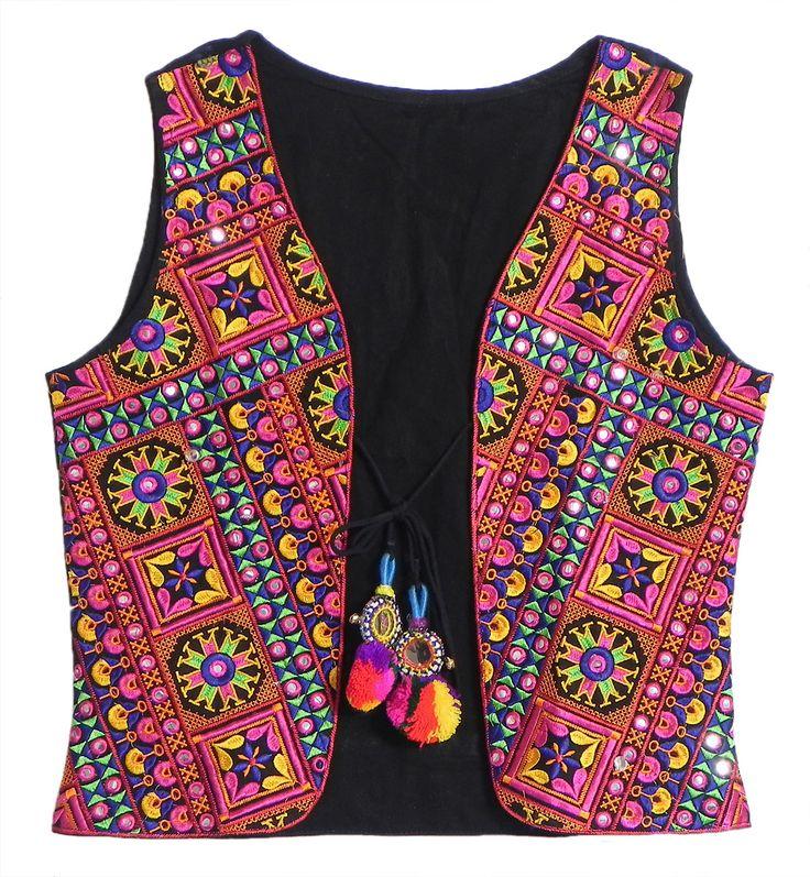 Multicolor Gujrati Embroidery on Sleeveless Ladies Jacket (Cotton Cloth)