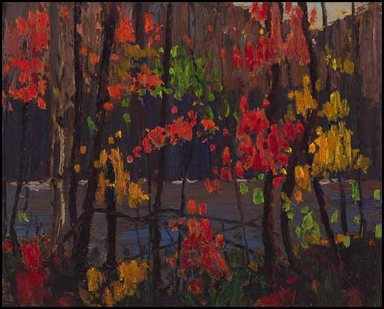 Thomas John (Tom) Thomson  (1877 - 1917) - Canadian - Autumn Tapestry - oil on panel - fall 1915 - 8 1/2 x 10 1/2in21.6 x 26.7cm - Estimate: $700,000.00 CAD