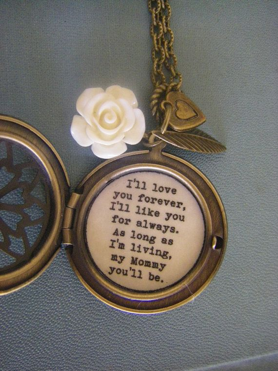 Mom Mother Locket Necklace I'll Love you Forever I'll like you for always ivory rose heart brass Mother's Day gift for mom on Etsy, $31.00