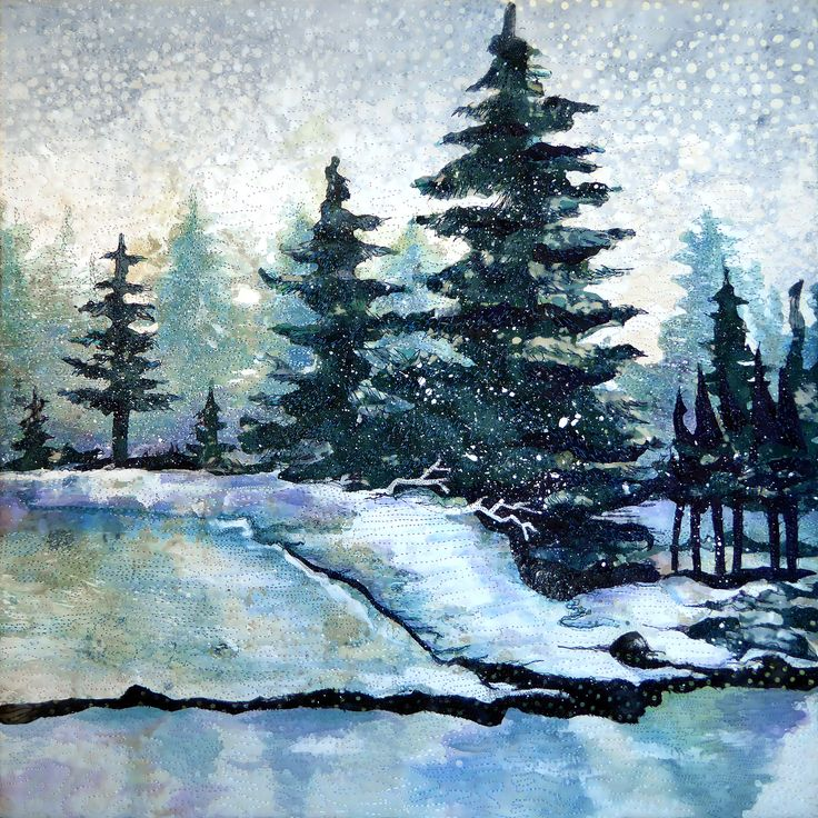 FIRST SNOW  mini art quilt by Nancy Messier