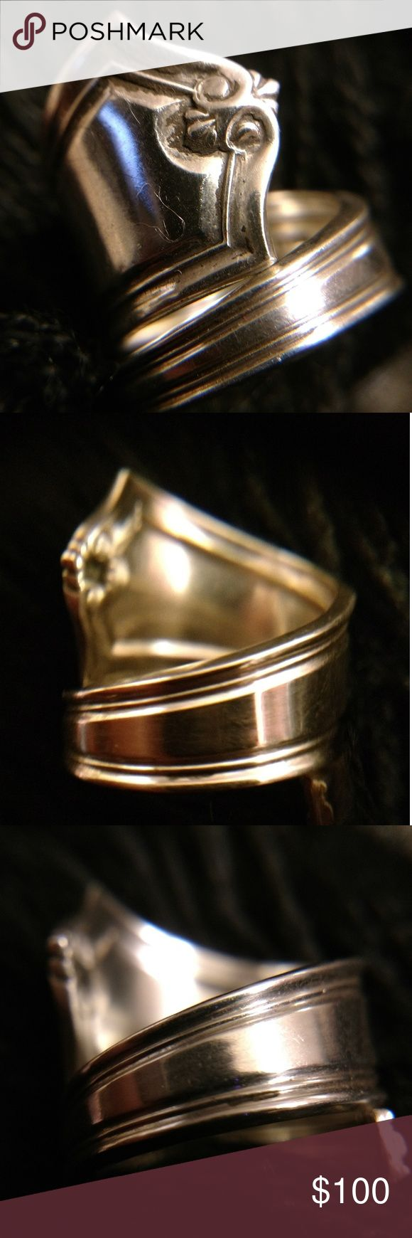 Vintage estate Sterling silver spoon ring Spoon rings date back to the 1600's. They are a timeless classic.This piece is absolutely beautiful. It is definitely one of my favorites! Since it is actually made from a spoon, each piece is one of a kind.  A spoon ring can be sized to fit most fingers because they're an open design. No trades. Please see photo fo description and detail. Jewelry Rings