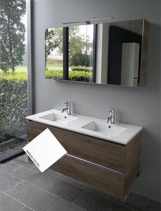 Thebalux Steven badmeubel 120 cm wit met keramisch blad dubbele wastafel (greeploos) en spiegelkast
