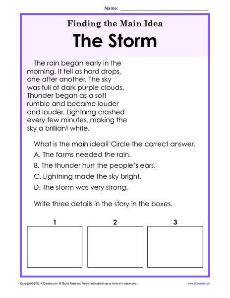 Main Idea for Kindergarten Worksheets Finding the Main ...