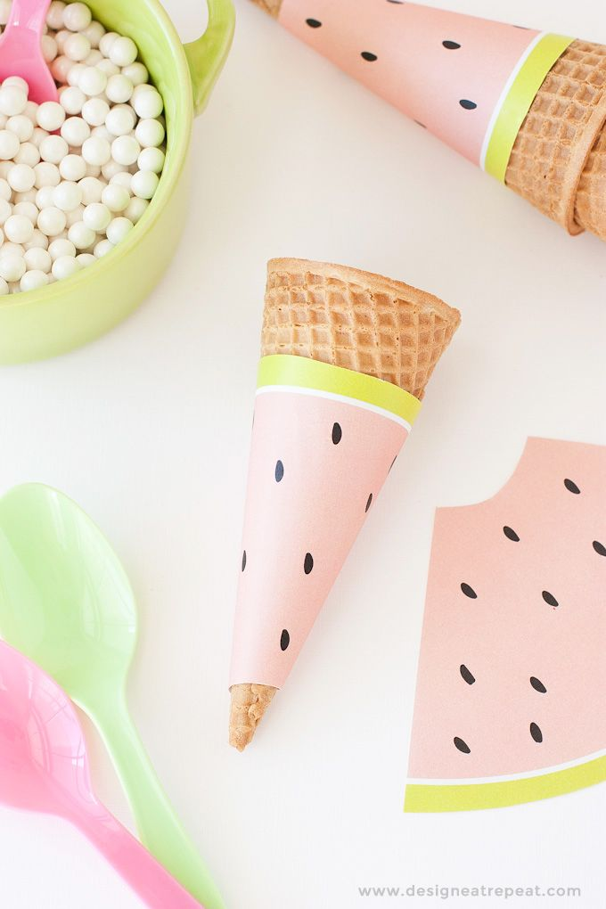Free Printable Watermelon Ice Cream Cone Wrappers ❥