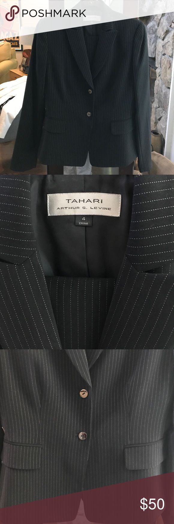 Tahari 2 Piece Black Pinstripe Suit & Skirt Set Tahari 2 Piece Black Pinstripe Suit & Skirt Set. Worn 3 times at most. Great Condition and dry cleaned. Size 4 for both jacket and skirt. Skirt zipper is in back. Tahari Jackets & Coats Blazers