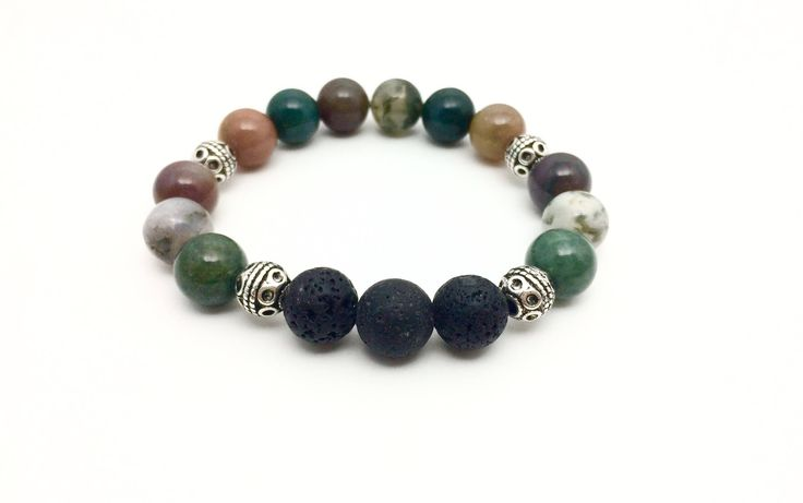 Excited to share the latest addition to my #etsy shop: Indian Agate Essential Oil Diffuser Bracelet, Indian Agate Aromatherapy Bracelet, Indian Agate and Lava Stone Bracelet, Essential Oil Gift