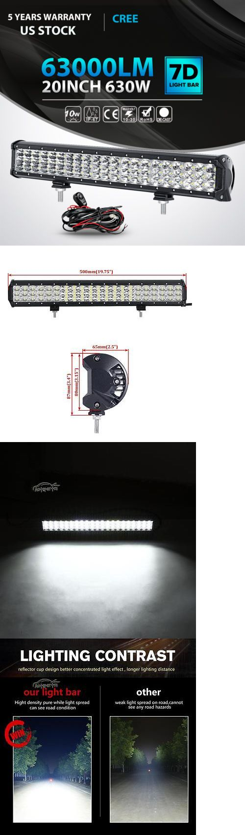 Car Lighting: 20Inch 630W Cree Tri Row Led Light Bar Spot Flood Work Lamp Ute Atv 22 23 24 -> BUY IT NOW ONLY: $48.5 on eBay!
