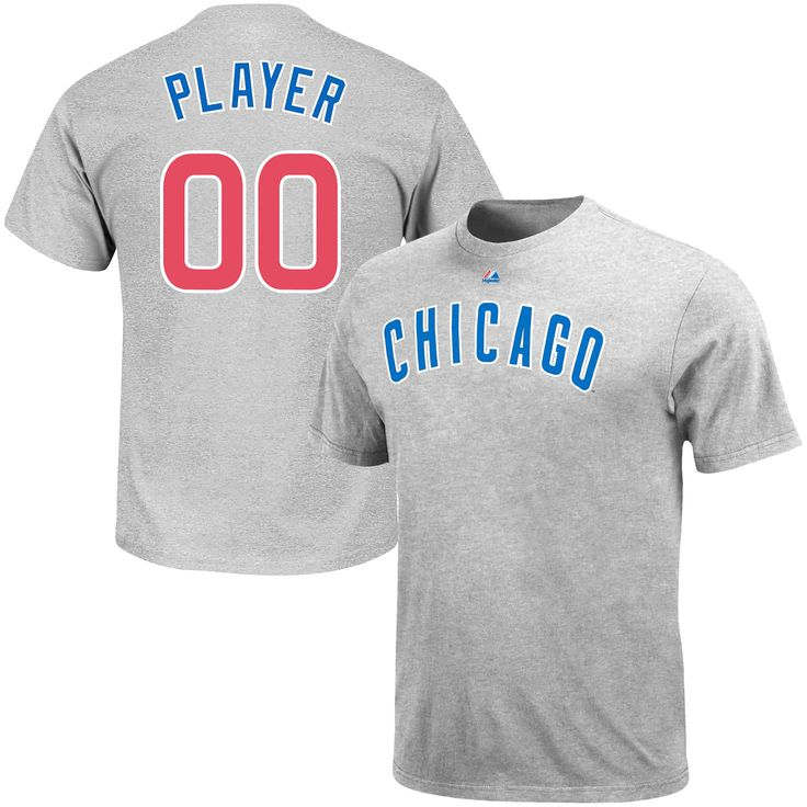 Chicago Cubs Majestic Custom Roster Name & Number T-Shirt - Gray - $31.99