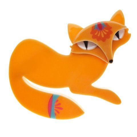 """Erstwilder; """"Fin the Fabled Fox"""" brooch"""