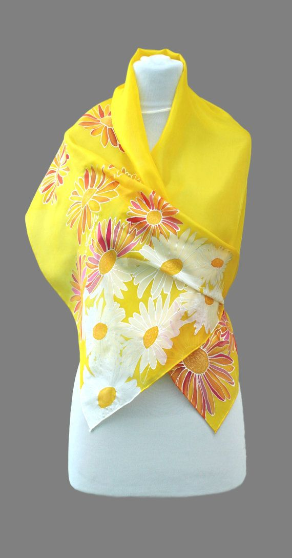 Hand painted silk scarf  Yellowwhitefloral handmade by Aryonelle