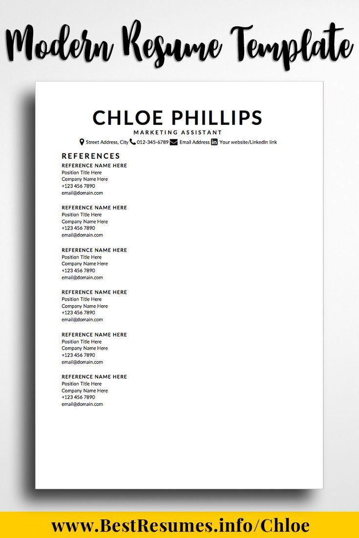 Minimalist Resume Template Chloe Phillips Resume References
