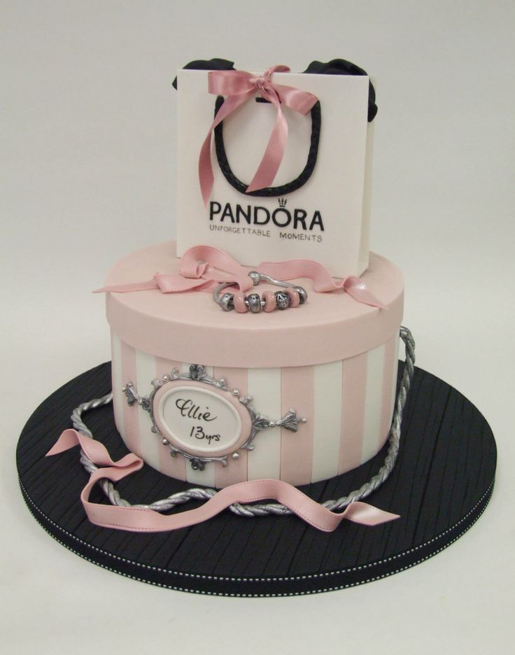 Shopping bag and hat box cake