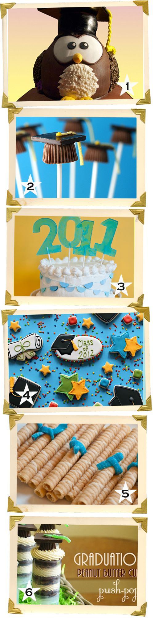 Dulces creativos para una fiesta graduación, de blog.fiestafacil.com / Creative sweets for a graduation party, from blog.fiestafacil.com