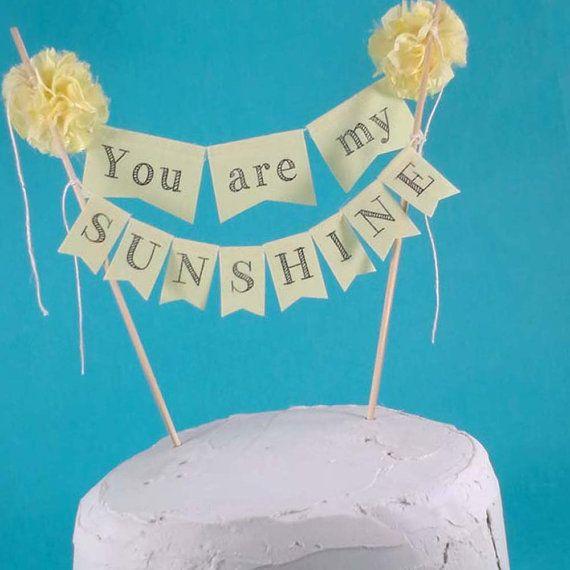 Sunshine cake banner Yellow Sunshine Birthday by Hartranftdesign