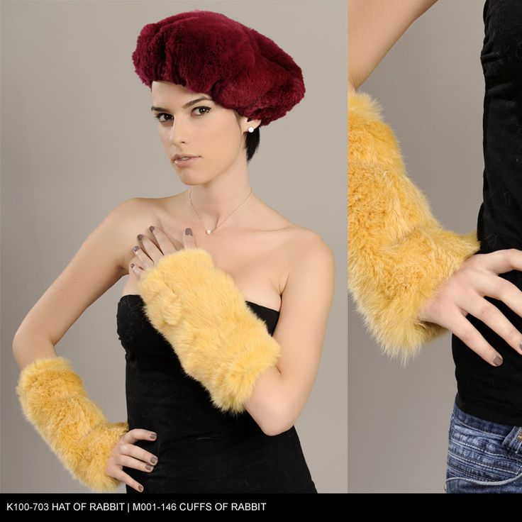 Hat and Cuffs of Rabbit fur. Available for wholesale orders.