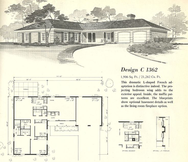 Vintage house plans homes mid century homes option to extend garage backwards and have a lane entry leaving room for an in law suite at the front with