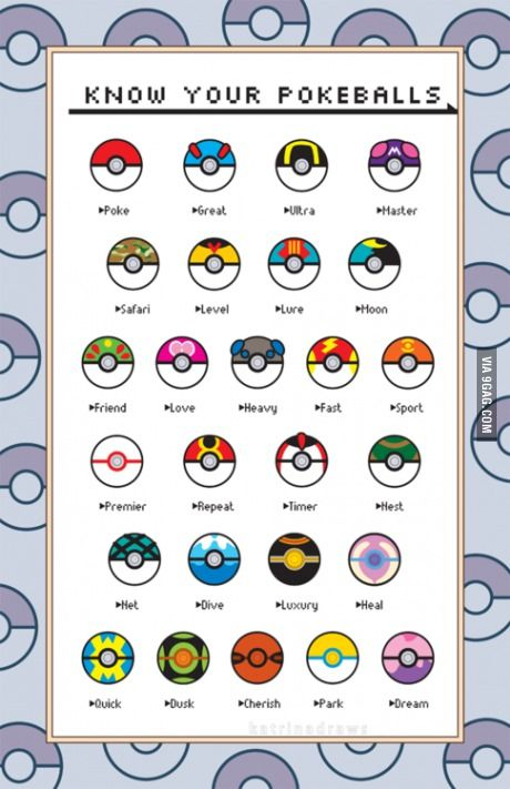9GAG - Who remembers the names of all Pokéballs?