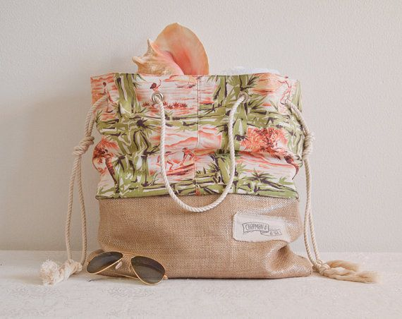 Special Edition Tiki Beach Bag, recycled vintage surfer, hula dancers, palm trees Chapman at Sea