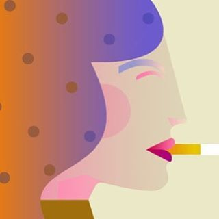 Polka Dot Lady smoking a cigarette.  #polkadots, #illustration, #smoking, #elegance, #fashionillustration, #vectorillustration,#graphic