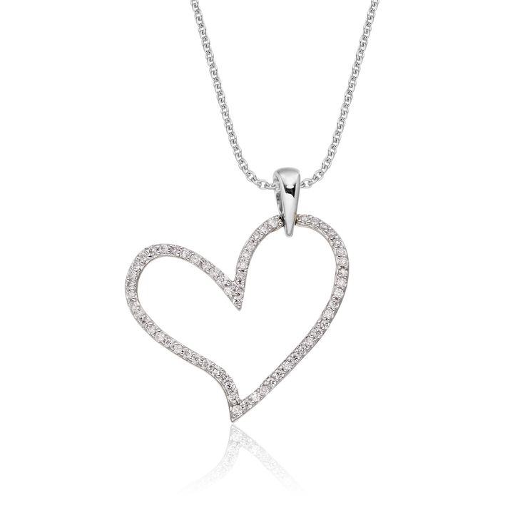 This charming white gold diamond pendant has 0.25ct diamonds. The pendant features an elegant line of diamonds set beautifully around the perimeter of the open heart. This necklace is made in 9K white gold and is available complete with a beautiful mirror trace chain or if you already have a chain then you have the option to buy just the pendant.