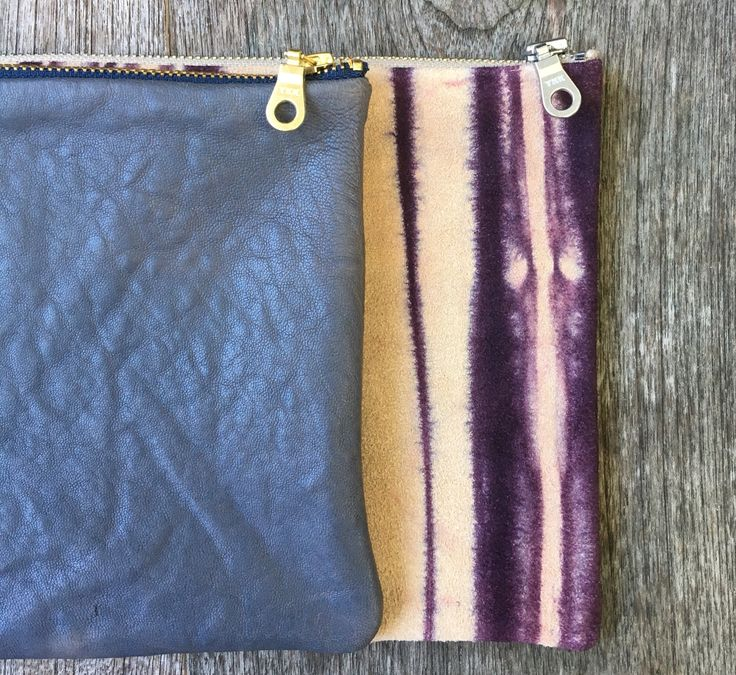Pouches $59 for leather and suede, $129 for Shibori.