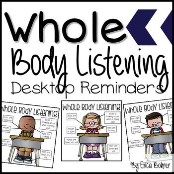 This packet is for free Whole Body Listening Desktop Reminders. You can print and laminate these mini- posters (four 4 inch mini-posters to a sheet) and point to them to give students non-verbal reminders to use Whole Body Listening. To read more about how I foster good listening, go to my blog post: http://www.ericabohrer.blogspot.com/2012/06/getting-students-to-listen.htmlHappy Teaching!-Erica Bohrer