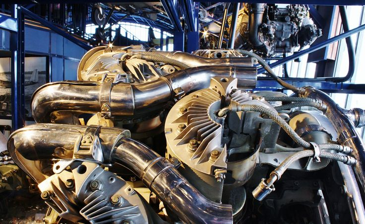 Plane engine on display at the Science Museum, London.