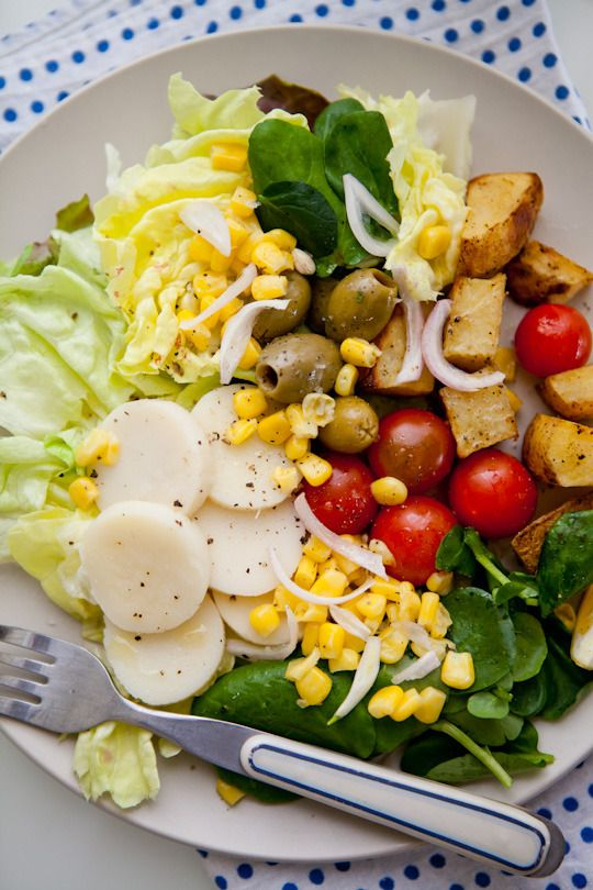 Salad with a simple dressing.