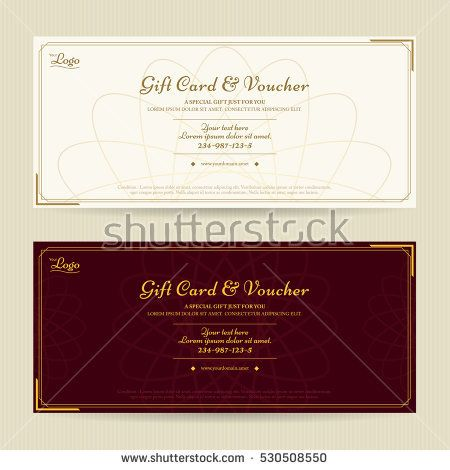 Elegant Gift Voucher Or Gift Card Template With Gold Border Gift