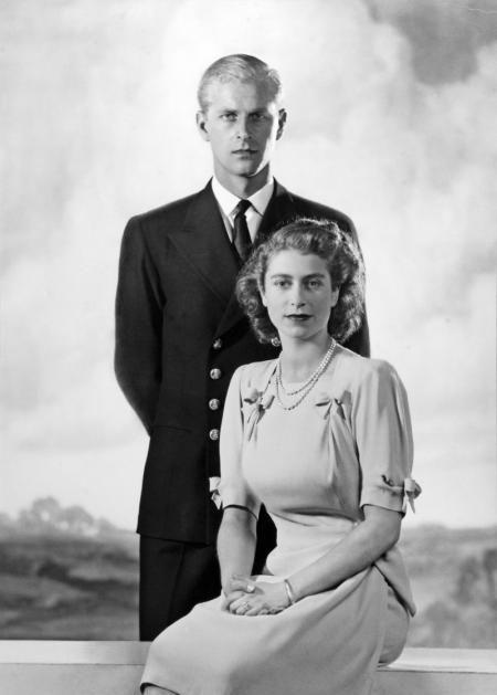 Princess Elizabeth, 21, (born 21 April 1926) and Philip Mountbatten, Duke of Edinburgh, 26, Prince Philip, Duke of Edinburgh (born Prince Philip of Greece and Denmark on 10 June 1921) in their 1947 engagement photo.