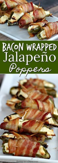 Easy appetizer recipe - This Bacon Wrapped Stuffed Jalapeño Poppers recipe is amazing. Only 3 ingredients to make the best bacon wrapped jalapeño poppers! Great Football Food!
