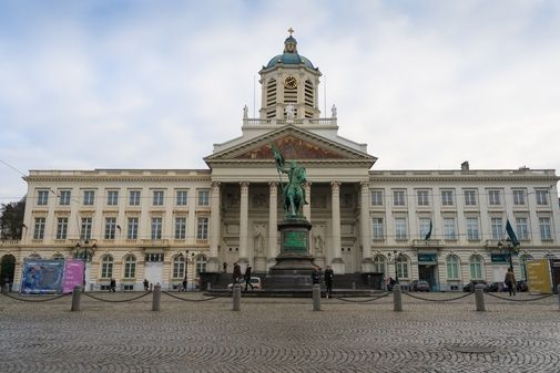 St Jacques Church at the Coudenberg and a statue of Godfrey of Bouillon.  Photo: https://www.shutterstock.com/image-photo/brussels-belgium-december-7-2013-st-590864288  Profile: https://www.shutterstock.com/g/FlareZT?language=en  #Jacques #Church #Coudenberg #statue #sky #day #blue #Godfrey #Bouillon
