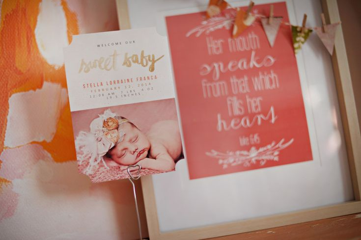 Accents from a pink, coral and orange nursery - #nurserydecor: Cheer Nurseries, Nurseries Decor, Births Announcements, Coral Nurseries, Girls Generation, Coral Nursery, Baby Girls, Orange Nurseries, Nurseries Ideas