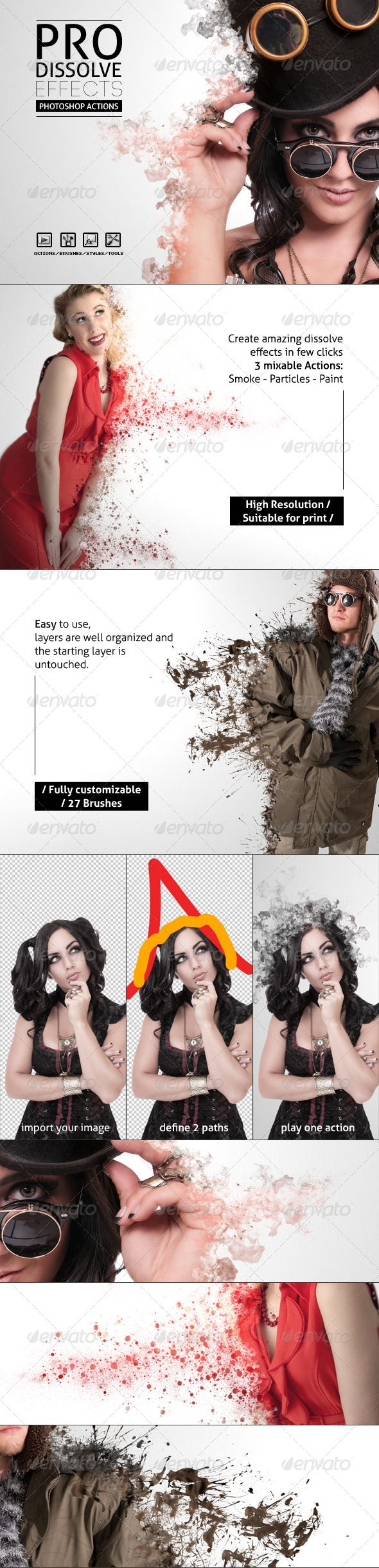 Pro Dissolve Effects - Photoshop Actions --- Generate amazing dissolve effects automatically from your images in few clicks, great to use on people, objects, designs and titles.  The effects are randomly generated each time and are blendable between each other to get even more detail. The final shape is decided by the user simply drawing two paths before playing the action.