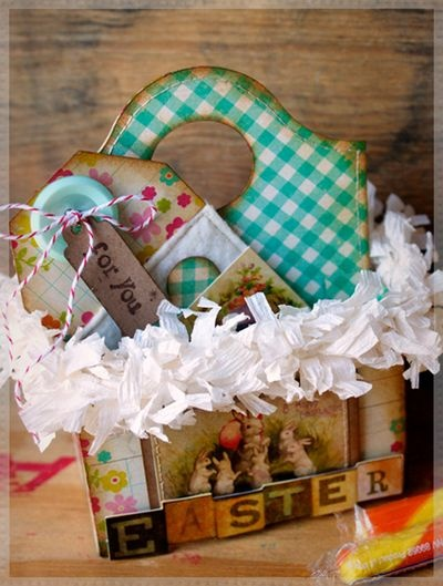 Super cute and vintage Easter Caddy featuring @Eileen Hull 's Scoreboard Caddy Bag die.  Project by @Hilary Kanwischer.