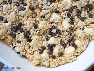 Avalanche Bars~a little more work than typical rice krispie treats, but so worth it! They were amazing! (Subbed Reese's Pieces for chocolate chips & they were even better!)