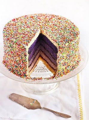 Purple Ombre Sprinkles Cake. SO Festive!  I need to get Chris to make this for my birthday.....Cake Recipe, Engagement Parties, Cake Ideas, Rainbows Cake, Dreams Cake, Smash Cake, Sprinkles Cake, Purple Cake, Birthday Cakes