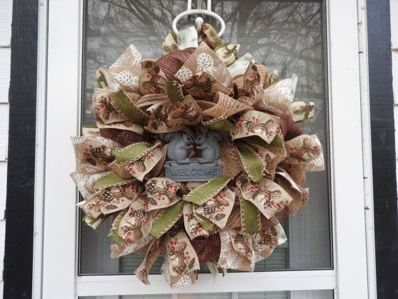 Winter Welcome Squirrel Deco Mesh Wreath