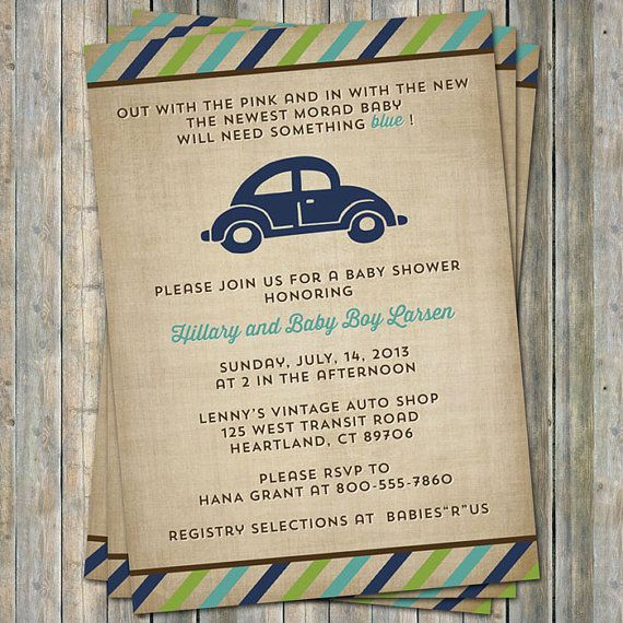 VW beetle baby shower invitation, Volkswagen Car theme, digital, printable file, customizable colors via Etsy