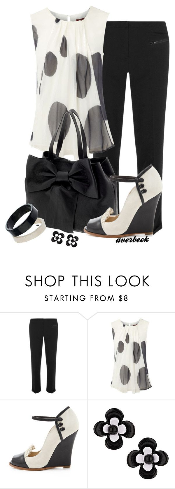 """Black and White Wedge Pump"" by averbeek ❤ liked on Polyvore featuring Dorothy Perkins, MaxMara, RED Valentino and Moschino"