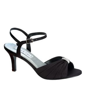 """http://www.sexyshoes.co.nz Style: Asher 263 Material: Satin Colour: Black Dyable: No Height: 2 1/2"""" Sole: Leather Sizes: 5-12 $159"""