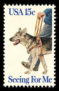 The 15-cent Seeing Eye Dog stamp from 1979 honored the 50th anniversary year of the founding of the first guide dog program in the U.S.