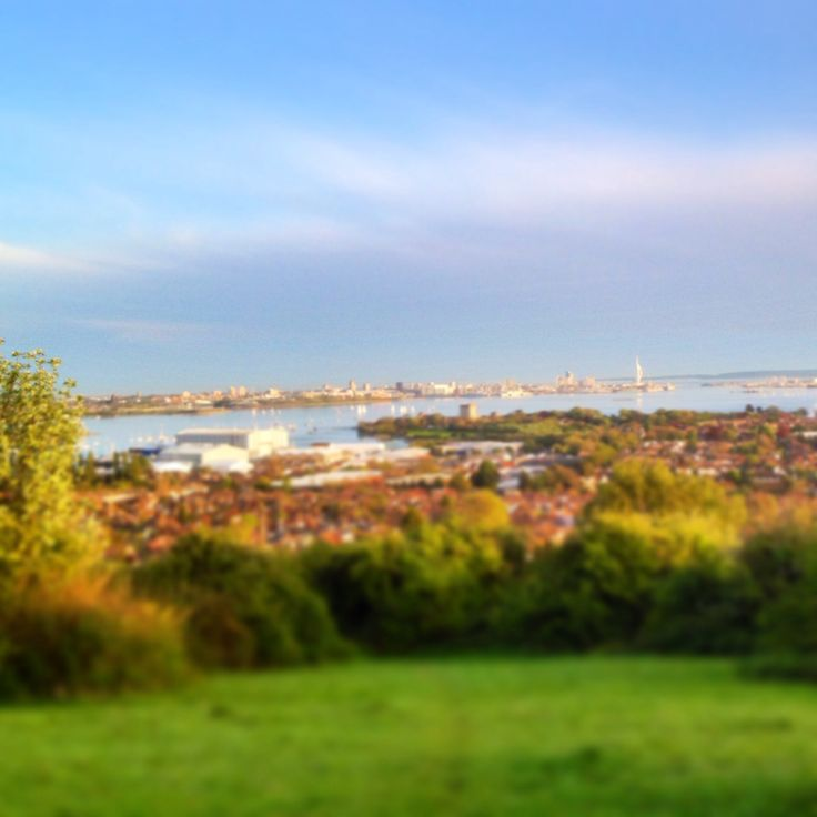 View over Portsmouth & The Solent, from Portsdown Hill. Hampshire, England