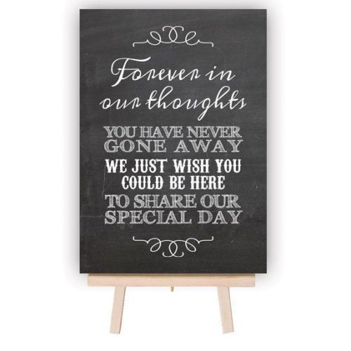 In Loving Memory Wedding Table Decoration Sign - Chalkboard Style | GiftWrappedandGor... A gorgeous table decoration for your wedding day, this chalkboard style sign is perfect for sitting on your Memory Table in remembrance of your loved ones that can't share your special day! Each sign is available in either A5 (small) or A4 (Medium), aluminium printed with a chalkboard effect.This stylish chalkboard effect sign is a unique addition to your wedding decorations and remembers your love...