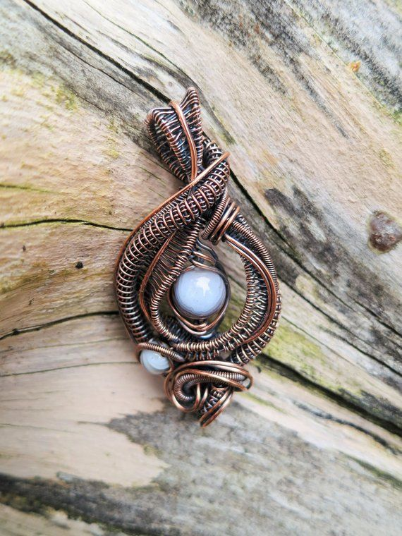 227 Botswana Agate wrapped in bare Copper wire wire wrapped pendant wire weave pendant,wire wrapped jewelry OOAK wire wrapped necklace
