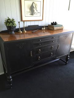 Vintage Workroom: Gorgeous English oak sideboard painted with black chalk paint and buffed with wax. SOLD