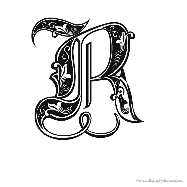 Gothic calligraphy r as an alternative to using a double