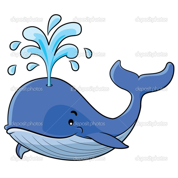 Illustration of cute cartoon whale not in water