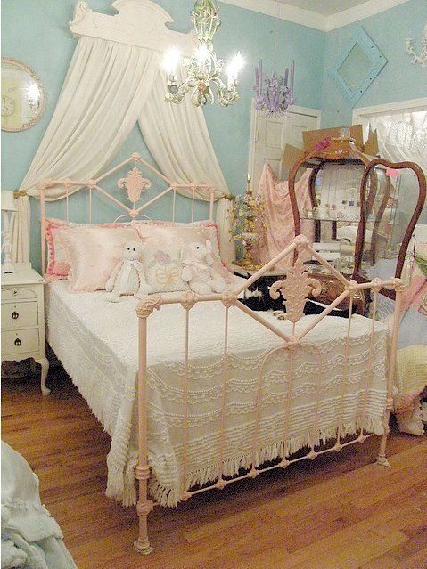 shabby chic antique bed frame pink by